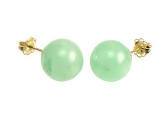 6mm Natural Green Jade Aventurine Ball Stud Post Earrings, 14K Yellow Gold, Minimalist Earrings, Green Earrings, Bridal Earrings