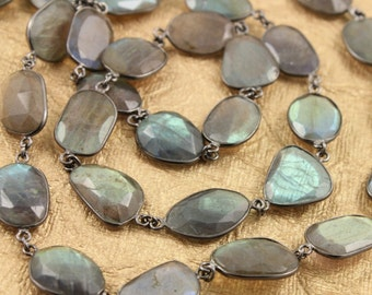 Flashy Blue Labradorite Oval Shape Bezel Chain in Antique Finish, Oval Shape Chain ,10x15 mm, Sold as Foot, (GMC/LAB/360)
