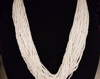 White multi-strand necklace, white multi-stand seedbead necklace, white woven necklace, bridesmaid necklace, seedbead necklace, necklace