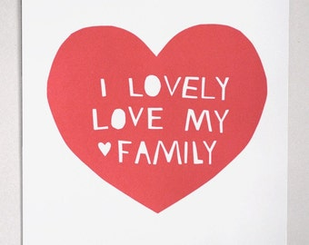 Lovely, Love My Family Print in Pink