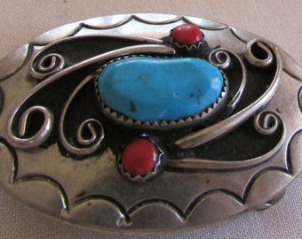 Nickel Belt Buckle with Turquoise and Red Stones