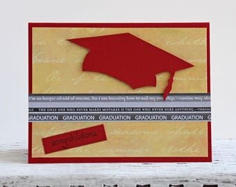Graduation Congratulations Card, Handmade Greeting Card with Graduate's Cap, Red and Yellow Notecard, High School and College Graduation