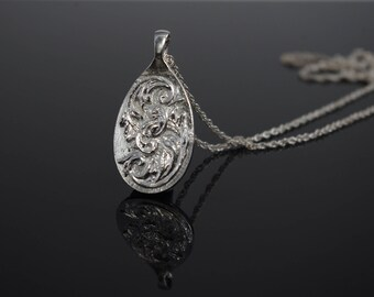 Sterling Silver Sculpted Scroll Pendant