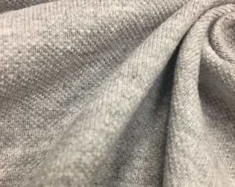 Cotton Pique Knit Fabric (Wholesale Price Available By the Bolt) USA Made Premium Quality - 7266H10 Heather Grey - 1 Yard