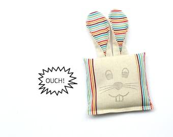 Boo boo bunny rice bag cold compress, colorful stripes cotton freezer bag ouch pouch