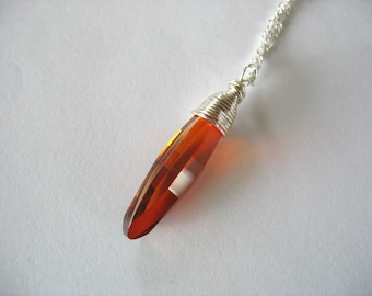 Crystal Pendant, Swarovski, Wire Wrapped, Ellipse, Red Magma, Handmade, Silver Chain