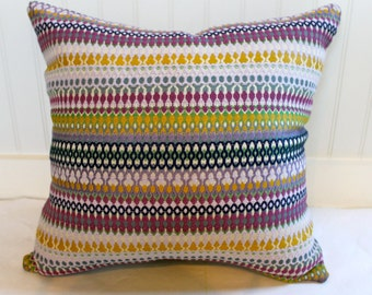Purple, Blue , Green, Gold and Ivory Striped Pillow Cover / 18 X 18 / Designer fabric with same fabric both sides