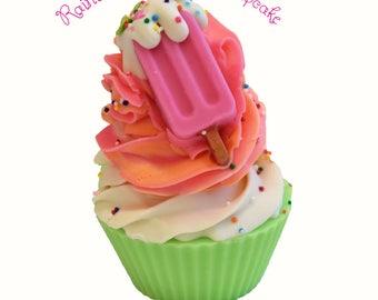 Rainbow Sherbet Handmade Artisan Vegan Soap Cupcake/Cold Process/Popsicle