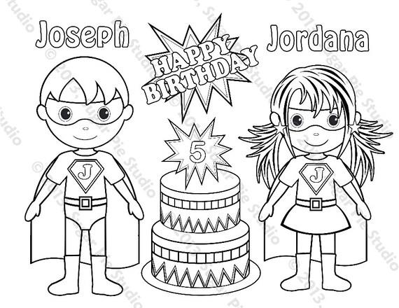Personalized Printable Twins SuperHero Super Hero Girl