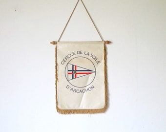 Vintage French Nautical sailboat Yacht club ARCACHON  • Flag Banner pennant collectible