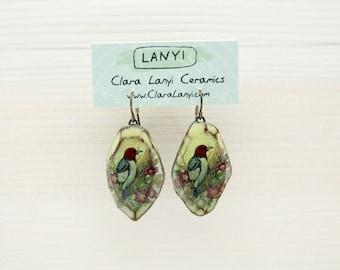 Handmade Bird Earrings, Ceramic jewelry, Red-headed Woodpecker, big earrings, bird watcher gift