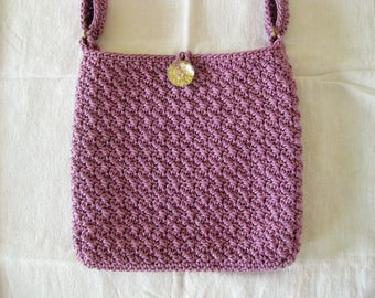 Crochet crossbody bag with lining, lavender purse, small crochet bag, crossbody bag, purple purse, crochet purse, purple bag