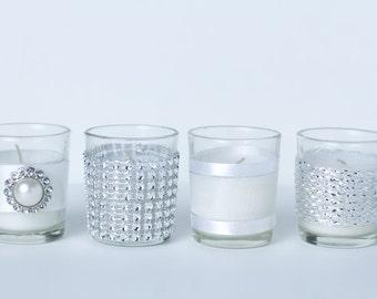 Set of 12 Votive Candles Elegant Silver Wedding