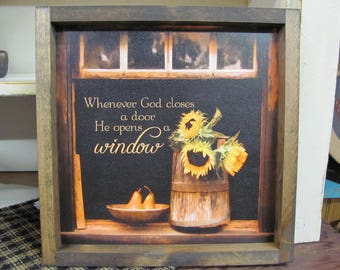 Sunflowers,God Opens Windows,Inspirational Wall Decor,13x13, Rustic Shadowbox Frame