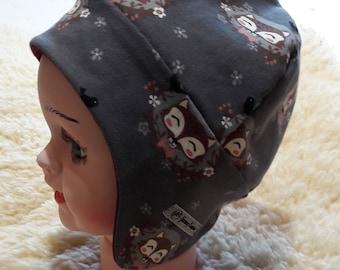Ear flap hat, ear hat, baby hat, racoons