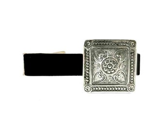 Art Nouveau Square Cuff Links Neo Victorian Antique Sterling Silver Tie Clip Vintage Inspired Custom Colors Available