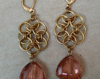 Matte Gold Peach Crystal Chain Maille Earring