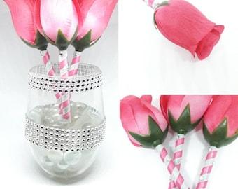 3 Pink Rose handmade Flower Pen Bouquet - Wedding Flower Pen - Guest Book Pen - Party Favor - Easter Gift - wedding pen Bouquet