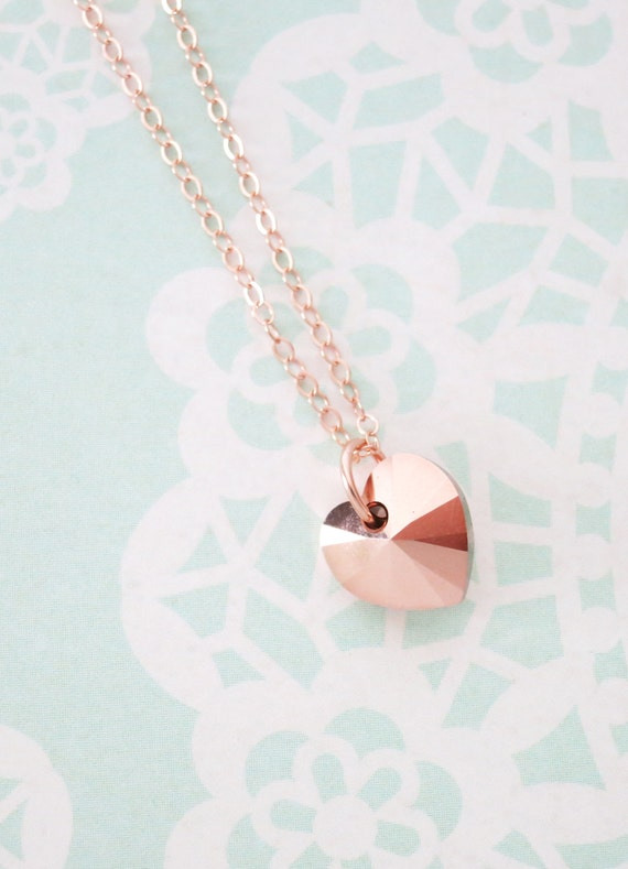Rose Gold Heart necklace - simple rose gold filled necklace with a forever love, Swarovski heart crystal, romance, chic-N0020RG