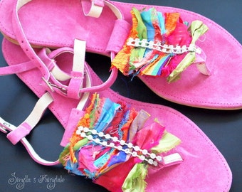 "Fuchsia  Leather sandals - bohemian styled with crystals and silk sari ribbons  - ""Santa Fe"""