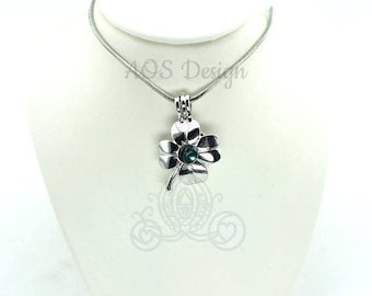 """Pick A Pearl Cage Silver Four Leaf Clover Lucky Charm Locket Pearl Bead Gem 18"""" Silver"""