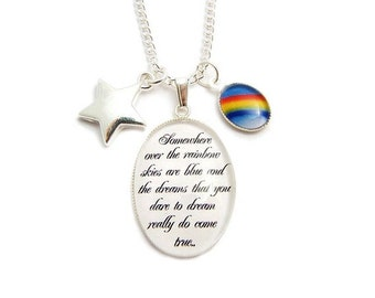 Wizard of Oz necklace Somewhere over the rainbow lyrics with star charm