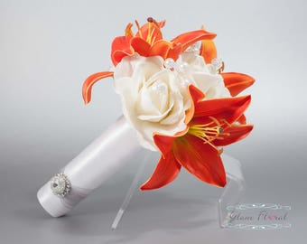 Wedding Bouquet, Bridal Bouquet, Real Touch Flowers, Real Touch Roses, Orange Day Lilies, Crystals, Pearls, Caroline Rose Collection