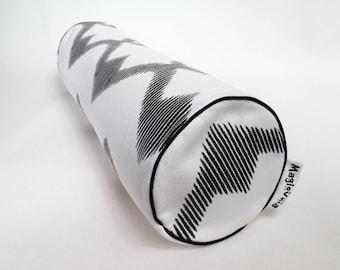 Buckwheat hull bolster pillow, yoga bolster, roll pillow, decorative bolster cushion, buckwheat pillow, black zigzack 18'' x 5''