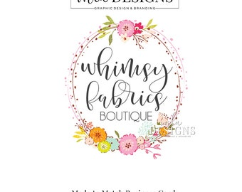 Floral Logo, Flower Logo, Boutique Logo, Shabby Country Logo Country Rustic Logo, Premade Logo Bohemian Logo Watercolor Logo, Boutique Logos