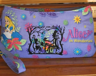 Alice in Wonderland Clutch Purse - Recessed Zipper closure - Small Coraline by Swoon - Ready to ship