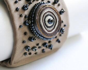 Bracelet beaded, textile bracelet beige, fabric cuff bracelet beige, wrist warmer beaded, gift for woman - Textile jewelry ooak for order