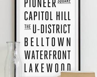 Seattle Subway Sign Wall Art Typography Poster - Modern Art Print