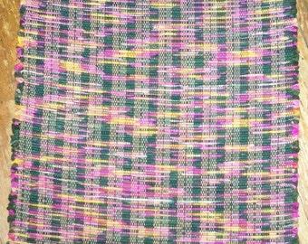 SALE ***  Handwoven Rag Rug - Dark Green, Fuschia, Gold (Inv. Id 10-0661)