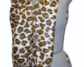 Leopard Fleece Scarf, Faux Skin Muffler, Bufanda