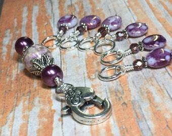 Purple Stitch Marker Holder & Snag Free Smashed Grapes Stitch Markers- Knitting Gift- Tools