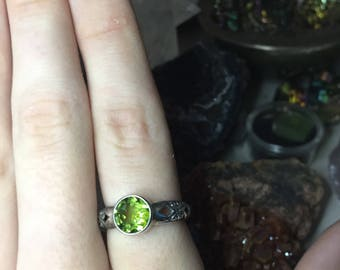Faceted Peridot Sterling Silver Ring