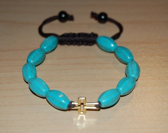 Turquoise Stone Bracelet,Golden Cross Charm,Shamballa Style Pretty Bracelet,Easy Fits,Man,Woman,Gift