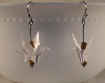 White Origami Crane Earrings, White Paper Crane Earrings, Handmade Paper Earrings, Paper Bird Earring, Wood Beads Crane Earring,Nova Origami