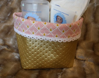 Faux leather gold and pink basket