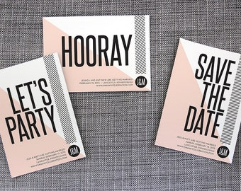 "Printable and Customizable DIY Wedding Save the Date ""Graphic Triangle"""