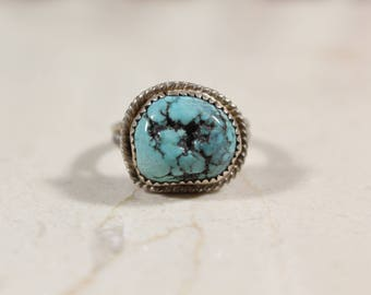 Vintage Navajo Turquoise Sterling Silver Ring #E91