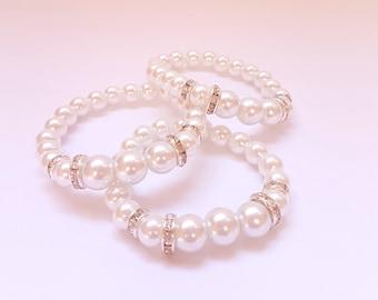 Set of 3 bracelet  Bridesmaid Bracelet Pearl Bracelet Bridesmaid Jewelry  Pearl Wedding Wedding Bracelet Bracelet Jewelry Set Wedding Set