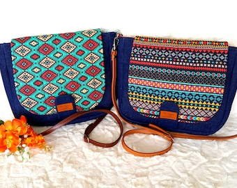 Crossbody Bag, Denim and Ethnic Tribal Pattern, Leather Adjustable Strap, Everyday Purse, Messenger Tote