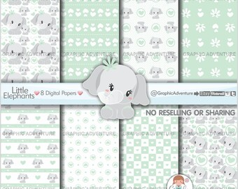 Elephant Digital Paper, Elephant Pattern, Mother's Day Digital Paper, COMMERCIAL USE, Neutral Baby, Elephant Texture, Mothers Day Pattern