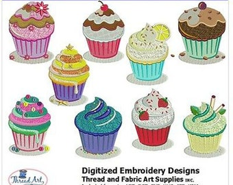 Embroidery Design Cd - Cupcakes (2) - 10 Designs - 8 Popular Formats - Threadart