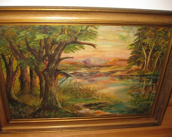 """ORIGINAL OIL PAINTING Signed Oil On Board Large Antique Painting In Antique Frame 36"""" X 26"""""""