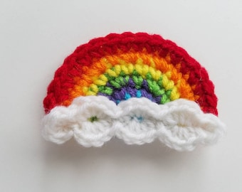 "NEW- Small 3.5""   Red CLOUDY RAINBOW Crochet Applique"