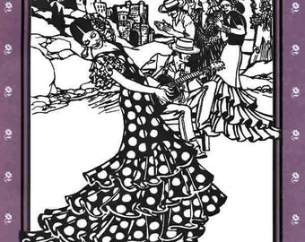 Folkwear Flamenco Dress & Practice Skirt w/Layers of Flounce Sewing Pattern #140 Great for Bolero Ballroom and Salsa Dancing