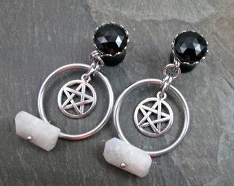 """Pentacle Plugs - 00g 10mm - 1/2"""" 12mm - Dangle Gauges - Hoop Gauges - Pagan Jewelry - Pentacle Gauges - Plug Earrings - Wiccan Jewelry"""