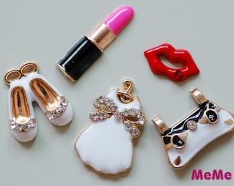 5 Pcs 1 Set Charms Alloy Clothing Lipstick Bag Bracelets Pendants Accessories Kawaii Studs Cabochon Deco Den Phone Case DIY Deco AA1263
